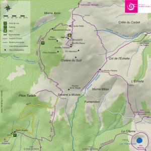 carte de préparation de la randonnée à piton tarade
