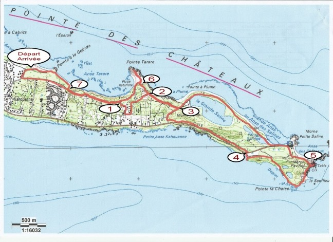 """Plan du parcours """"Boucle de la Pointe-des-châteaux"""