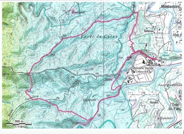 Carte du parcours Boucle de l'INRA