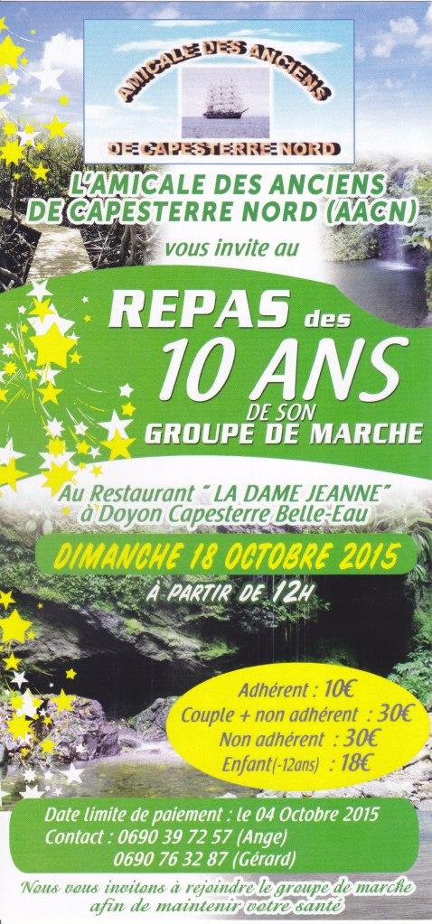 Recto carte d'invitation repas des 10 ans du groupe_de_marche