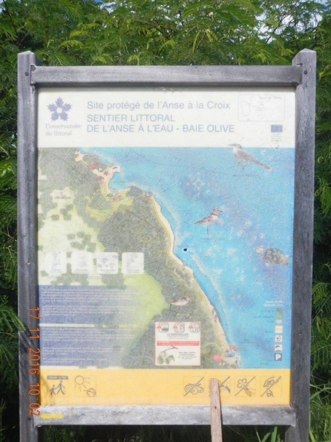 Panneau d'information du sentier du littoral Anse-à-l'eau_Baie Olive