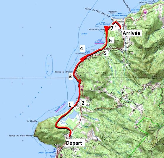 Carte de la trace du parcours de la randonnée